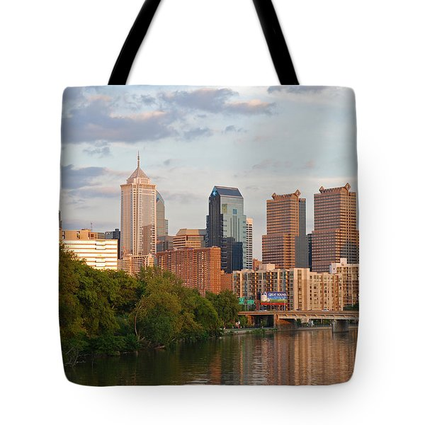 Philly summer skyline Tote Bag by Jennifer Lyon