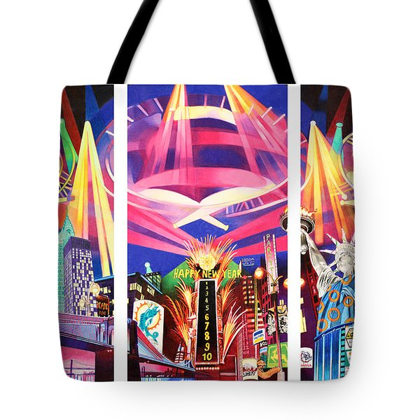 Phish New York For New Years Triptych Tote Bag by Joshua Morton