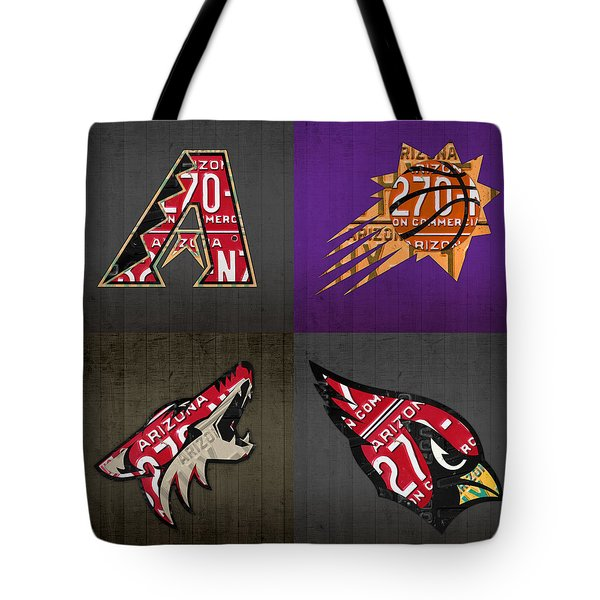 Phoenix Sports Fan Recycled Vintage Arizona License Plate Art Diamondbacks Suns Coyotes Cardinals Tote Bag by Design Turnpike