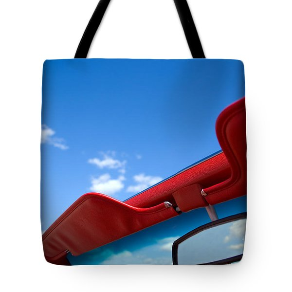 Photo Of Convertible Car And Blue Sky Tote Bag by Paul Velgos