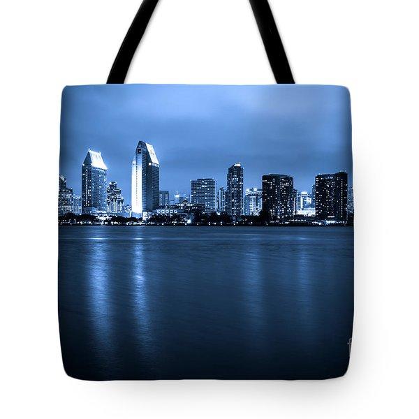 Photo of San Diego at Night Skyline Buildings Tote Bag by Paul Velgos