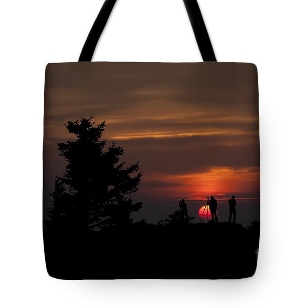 Photographers Shooting Sunrise At Bear Rocks Tote Bag by Dan Friend