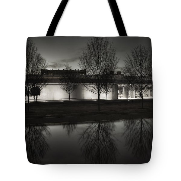Piano Pavilion Bw Reflections Tote Bag by Joan Carroll