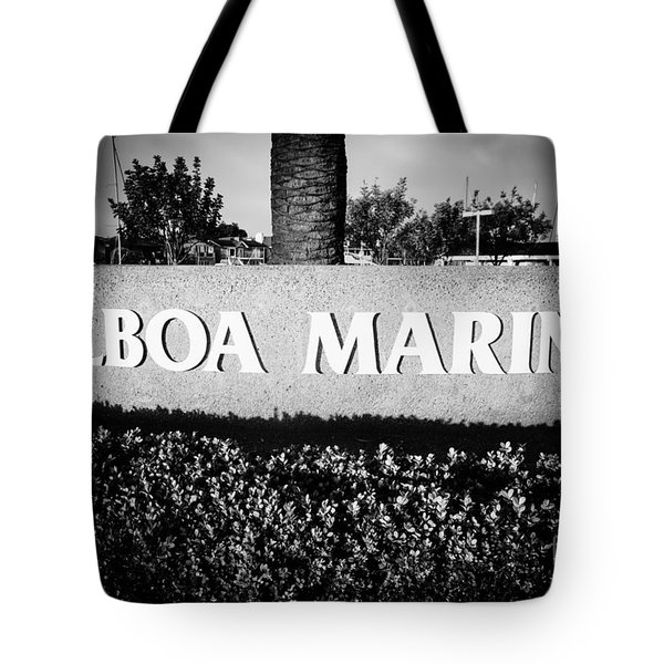 Pictue of Balboa Marina Sign in Newport Beach Tote Bag by Paul Velgos