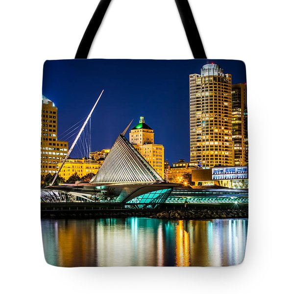 Picture Of Milwaukee Skyline At Night Tote Bag by Paul Velgos
