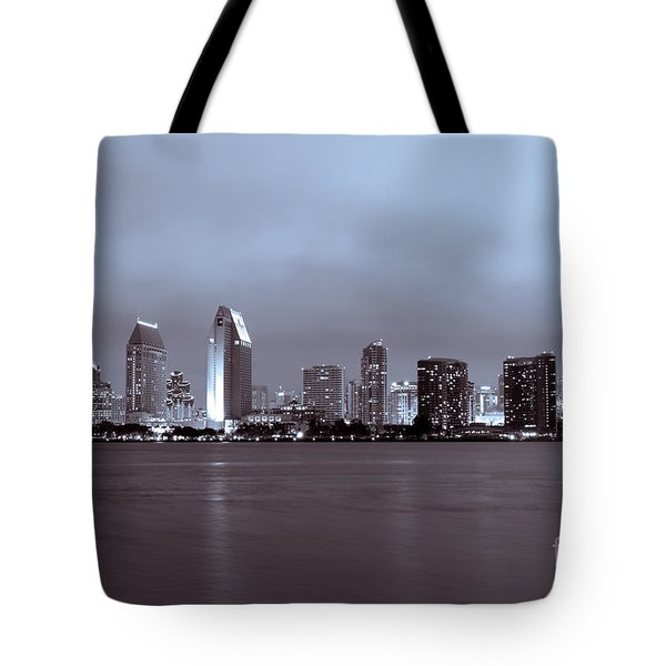 Picture of San Diego Skyline at Night Tote Bag by Paul Velgos