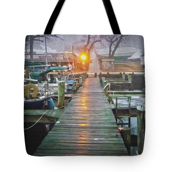 Pier Light - Oil Paint Effect Tote Bag by Brian Wallace