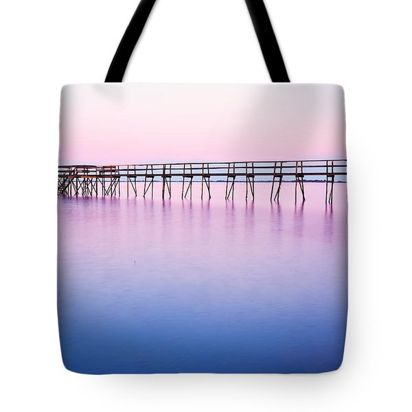 Pier On Lake Winnipeg Tote Bag by Ken Gillespie