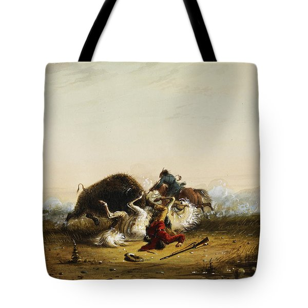 Pierre And The Buffalo Tote Bag by Alfred Jacob Miller