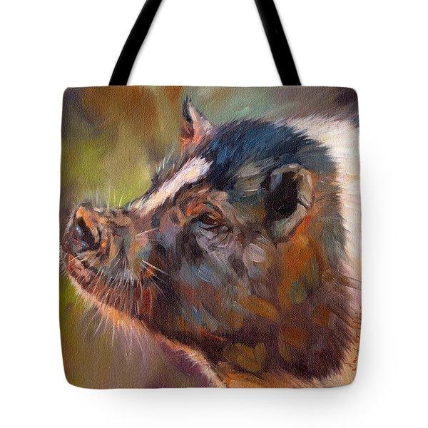 Pig Tote Bag by David Stribbling