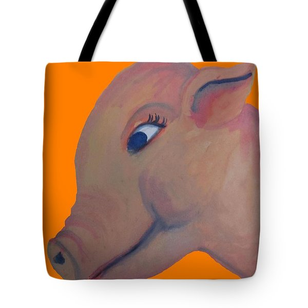 Pig On Orange Tote Bag by Cherie Sexsmith