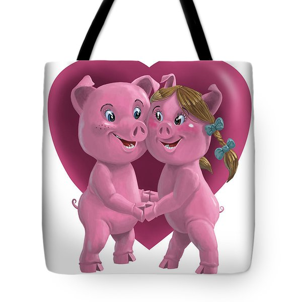 pigs in love Tote Bag by Martin Davey