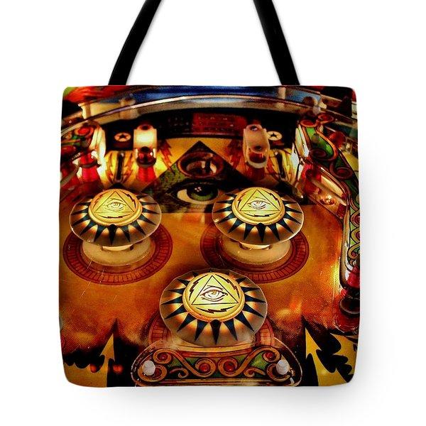 Pinball All Seeing Eye Tote Bag by Benjamin Yeager