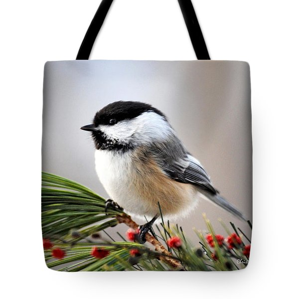 Pine Chickadee Tote Bag by Christina Rollo