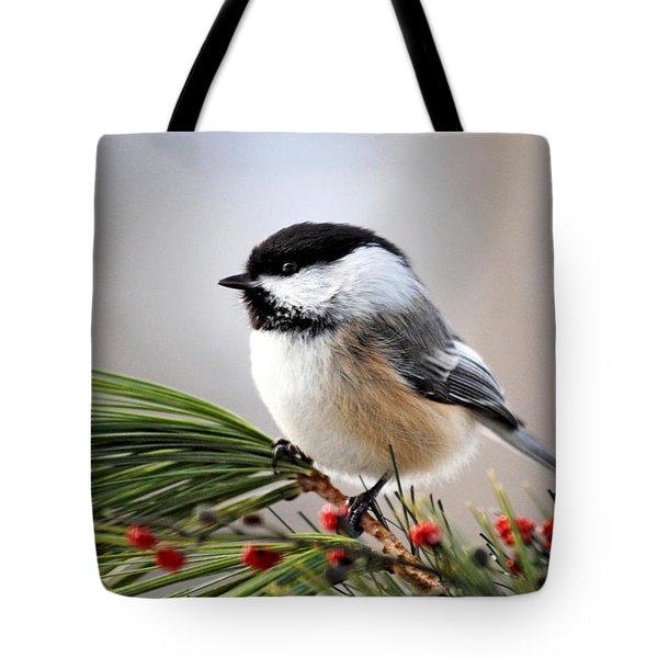 Pine Chickadee Tote Bag by Christina Rollo