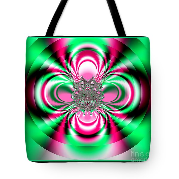 Pink And Green Rotating Flower Fractal 74  Tote Bag by Rose Santuci-Sofranko