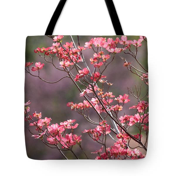 Pink and Purple Spring Trees Tote Bag by Carol Groenen