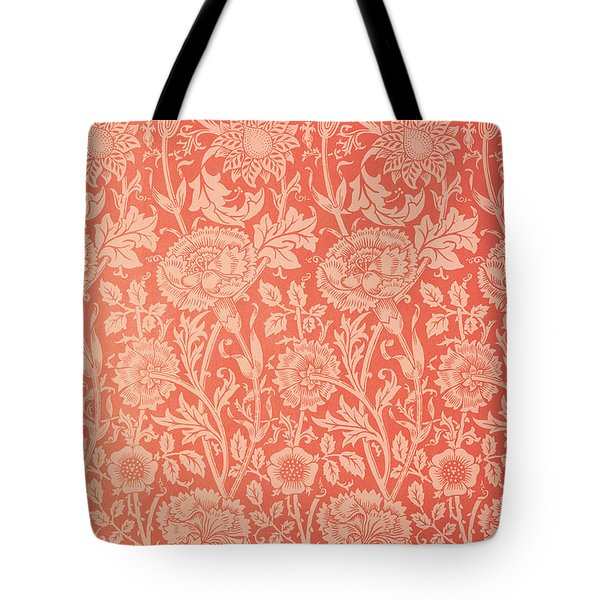 Pink and Rose Wallpaper design Tote Bag by William Morris