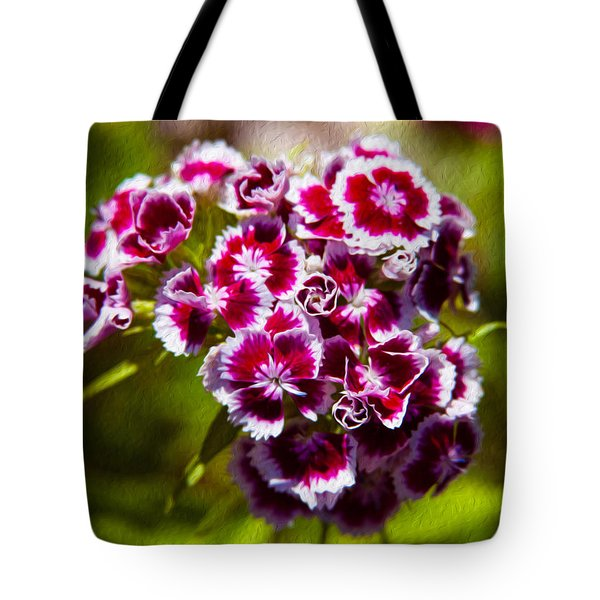 Pink and White Carnations Tote Bag by Omaste Witkowski