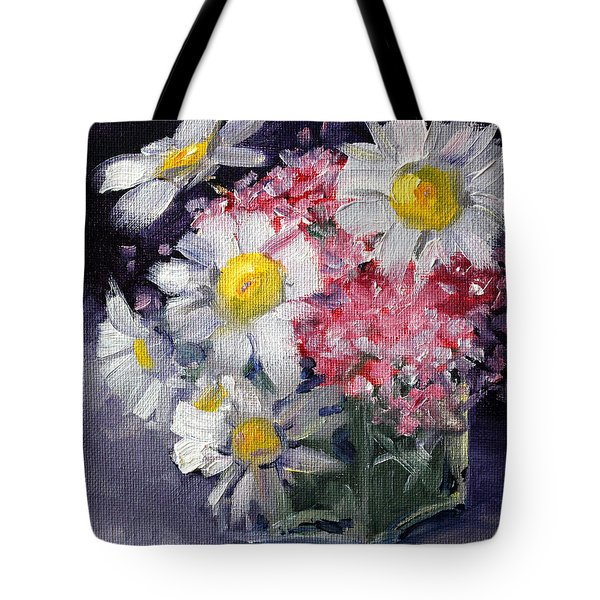 Pink And White Tote Bag by Nancy Merkle