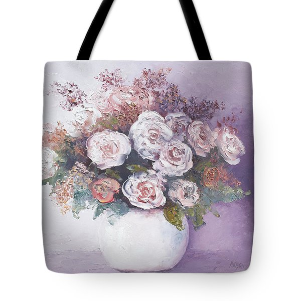 Pink and white roses Tote Bag by Jan Matson