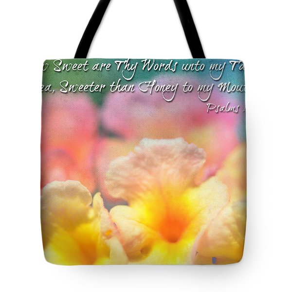 Pink and Yellow Lantana with verse Tote Bag by Debbie Portwood