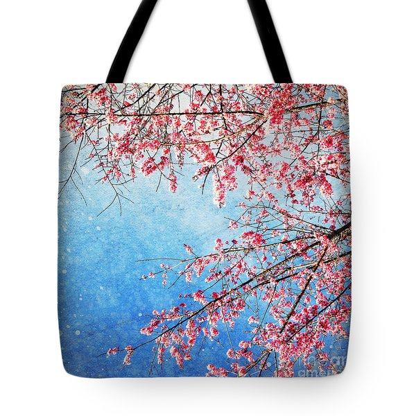 Pink Blossom Tote Bag by Setsiri Silapasuwanchai