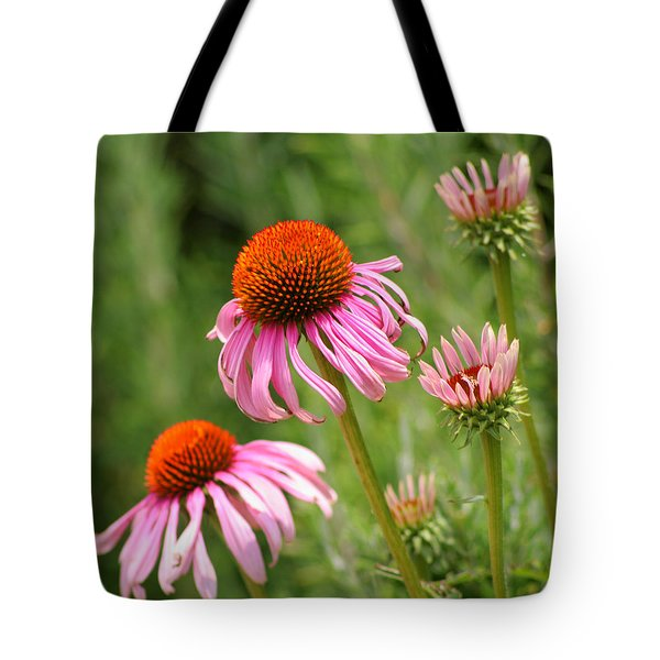 Pink Cone Flower Tote Bag by Art Block Collections