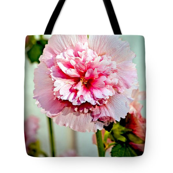 Pink Double Hollyhock Tote Bag by Robert Bales
