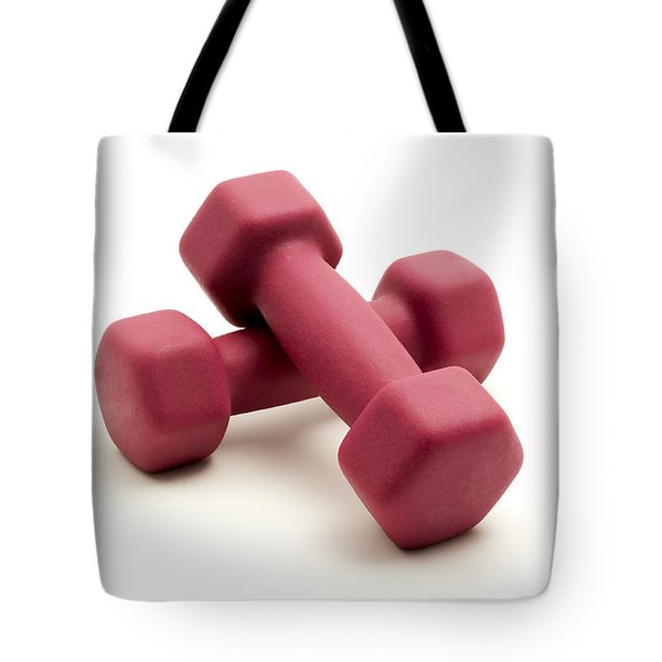 Pink Fixed-weight Dumbbells Tote Bag by Fabrizio Troiani
