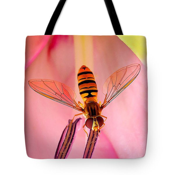 Pink Flower Fly Tote Bag by Bill Caldwell -        ABeautifulSky Photography