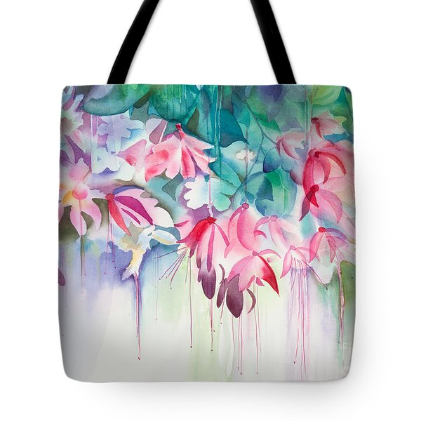 Pink Flowers Watercolor Tote Bag by Michelle Wiarda