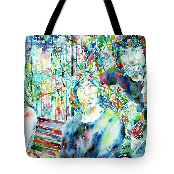Pink Floyd At The Park Watercolor Portrait Tote Bag by Fabrizio Cassetta