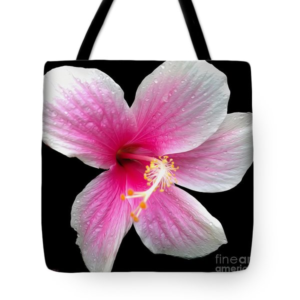 Pink Hibiscus In The Rain Painted Tote Bag by Cheryl Young