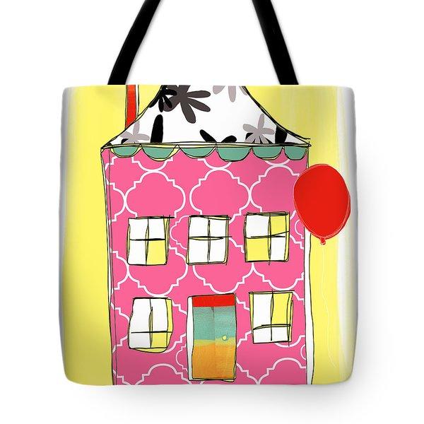 Pink House Tote Bag by Linda Woods