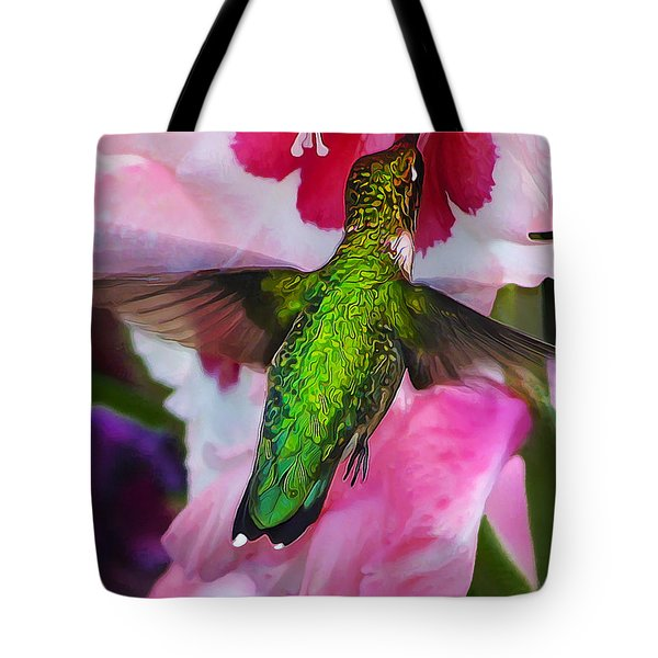 Pink Hummer Tote Bag by Bill Caldwell -        ABeautifulSky Photography