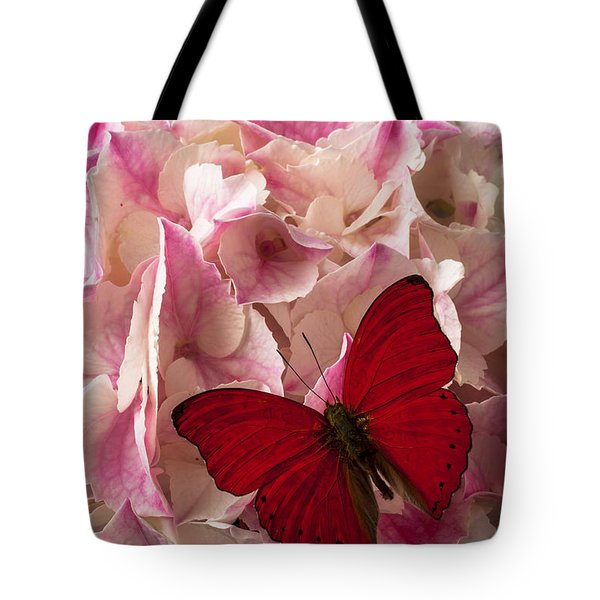 Pink Hydrangea With Red Butterfly Tote Bag by Garry Gay