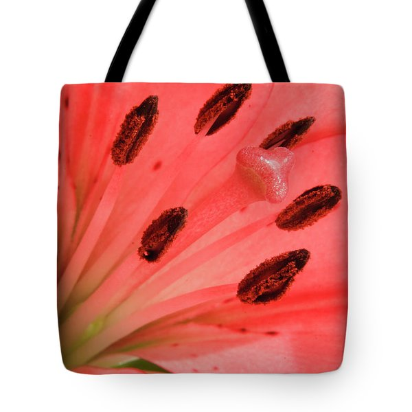 Pink Lily Macro Tote Bag by Adam Romanowicz
