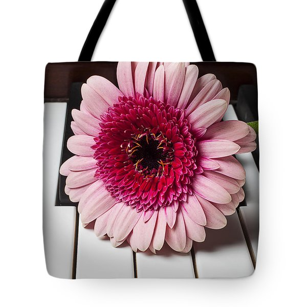 Pink mum on piano keys Tote Bag by Garry Gay