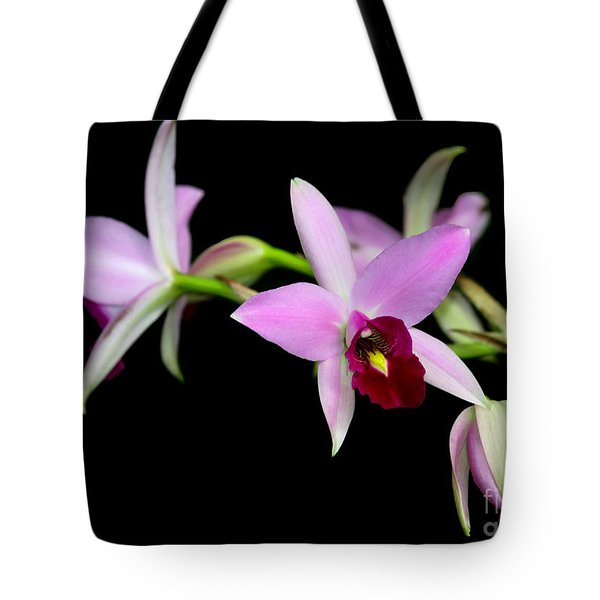 Pink Orchids Cascading Tote Bag by Sabrina L Ryan