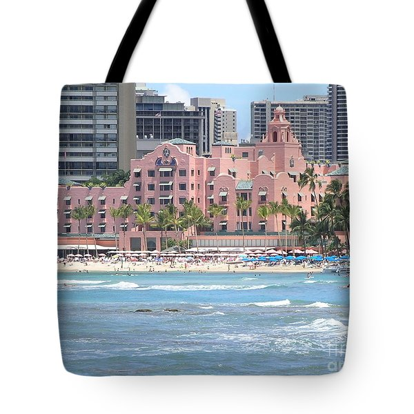Pink Palace On Waikiki Beach Tote Bag by Mary Deal