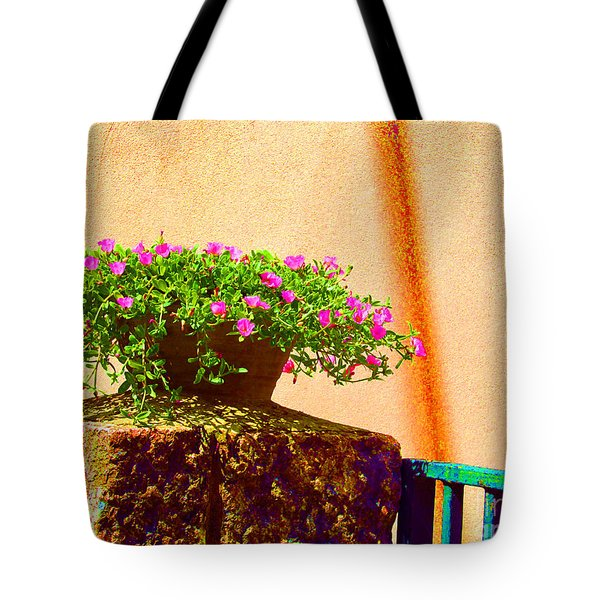 Pink Potted Flowers And Bench Tote Bag by Tina M Wenger