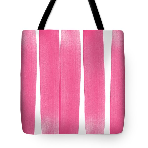 Pink Ribbons- Colorful Abstract Watercolor Painting Tote Bag by Linda Woods