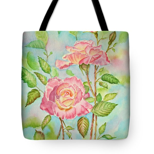 Pink Roses And Bud Tote Bag by Kathryn Duncan
