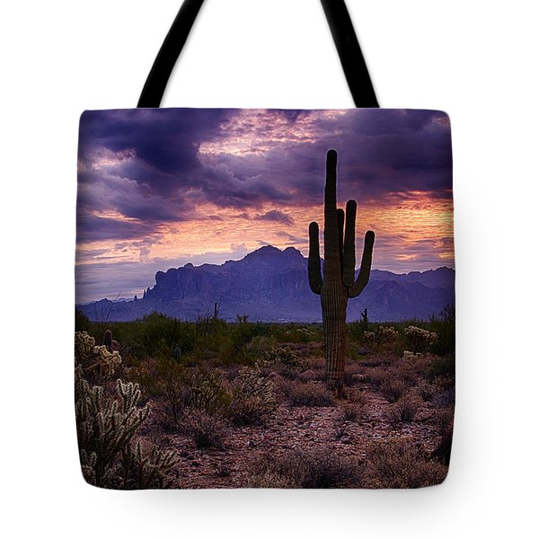 Pink Skies At The Superstitions Tote Bag by Saija  Lehtonen