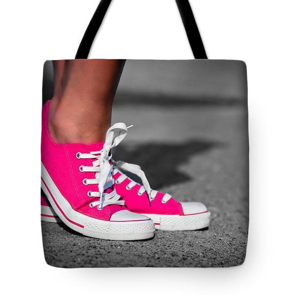Pink sneakers  Tote Bag by Michal Bednarek
