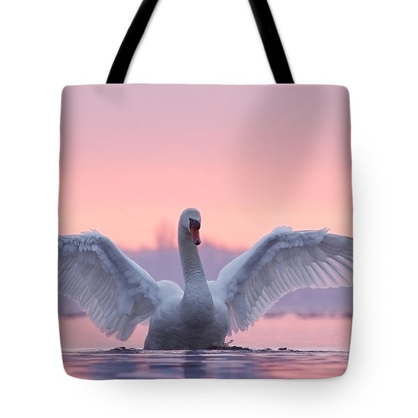 Pink Swan Tote Bag by Roeselien Raimond