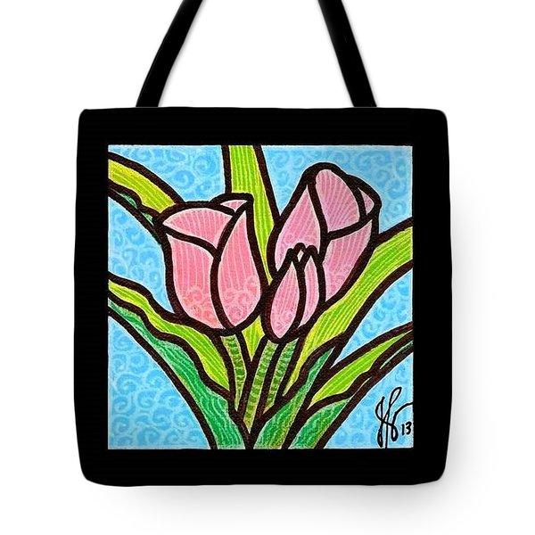 Pink Tulip Trinity Tote Bag by Jim Harris