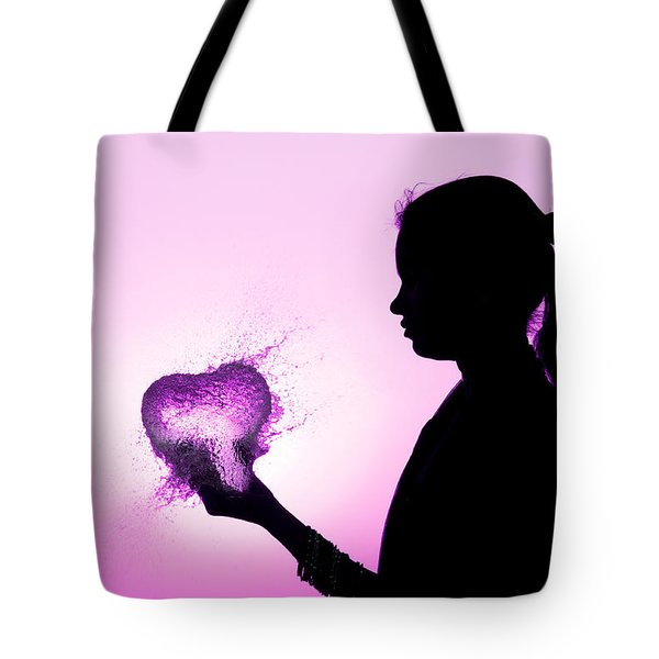 Pink Water Heart Tote Bag by Tim Gainey