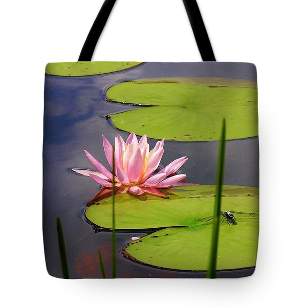 Pink Water Lily And Dragonfly Tote Bag by Sherman Perry
